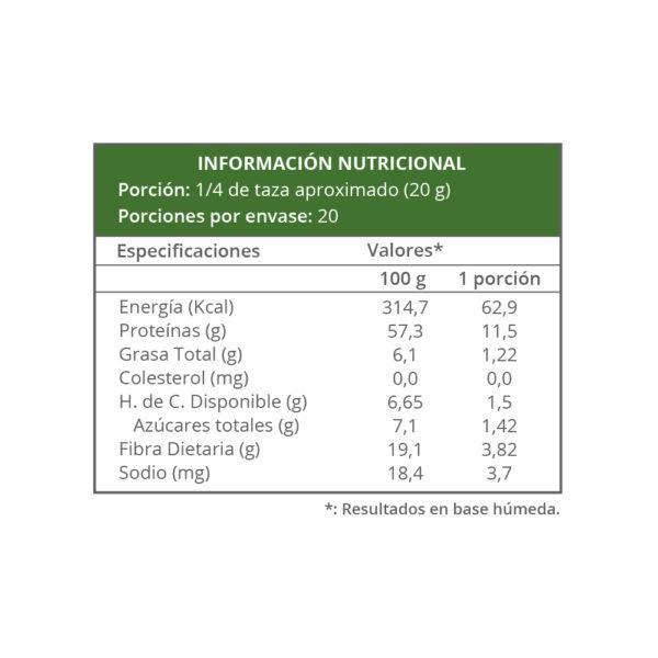 Información nutricional - Harina Prot - Repostería y Masas Secas 400g