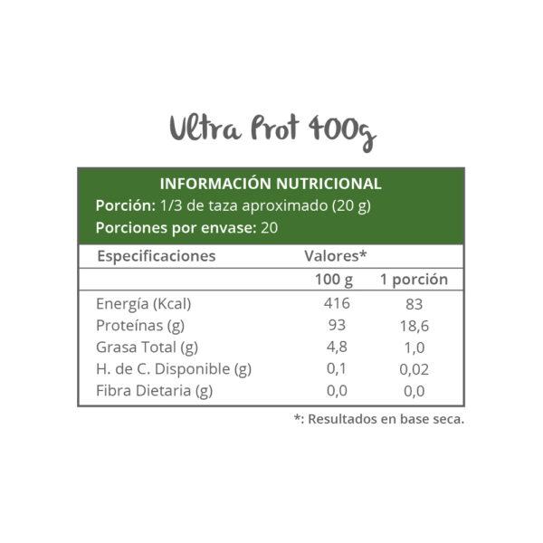 Información nutricional - UltraProt 400g
